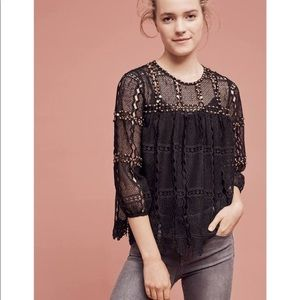 Anthropologie Maeve Studded Lace Top